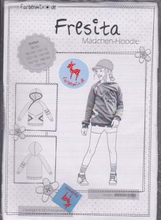 Fresita Mädchen-Hoodie Schnittmuster Farbenmix - Glücksmarie Onlineshop
