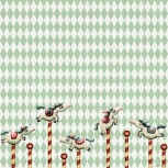Fich Fabric Carousel Horses Panel a 55cm