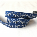 Webband Dogs on Flower Blau By BeaLena 15mm