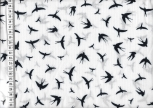 Viskose Stoff Birds White Navy